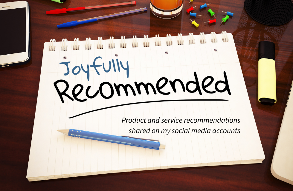 words written on notebook page saying joyfully recommended